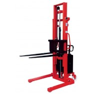 Semi-Electric Stacker with Adjustable Straddle Legs