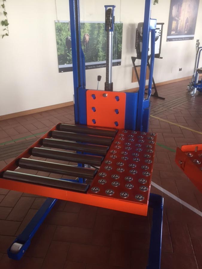 Stacker with Roller Bed Attachment
